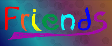 Colored handwritten word fiends made by brush on abstract background.. Colored handwritten word fiends made by brush on abstract background with balls. Card for Stock Image