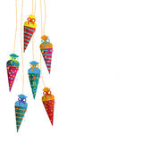 Colored Hanging Candy Cones Royalty Free Stock Images