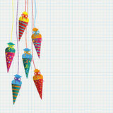 Colored Hanging Candy Cones Checked Paper Stock Photography