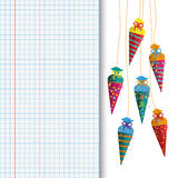 Colored Hanging Candy Cones Checked School Paper Stock Photos