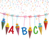 Colored Hanging Candy Cones Line ABC Letters Royalty Free Stock Images