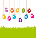 Colored hanging eggs  Easter card Stock Images