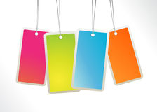 Colored hanging labels. Stock Photo
