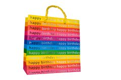 Colored happy birthday gift bag Stock Photo