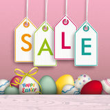 Colored Happy Easter Eggs Price Stickers Sale Pink Background Royalty Free Stock Photography