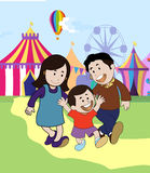 Colored  of a happy family in a circus Stock Photo