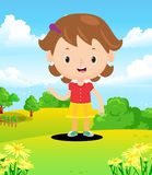 Colored  of a happy little girl in the field Royalty Free Stock Photos