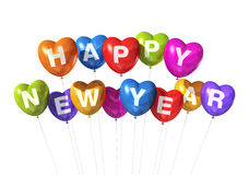 Colored happy new year heart shaped balloons Stock Image