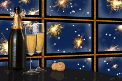 Colored happy new year. Toast champagne happy new year Stock Images