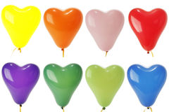 Colored heart balloons isolated on white Royalty Free Stock Photography
