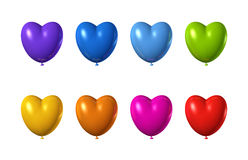 Colored heart shape balloons set isolated on white. 3D colored heart shape balloons set isolated on white Stock Images