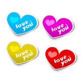 Colored heart stickers Royalty Free Stock Photo
