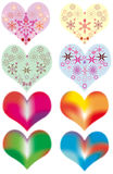 Colored Hearts. A set of decorated hearts for Saint Valentine's Day Royalty Free Stock Photos