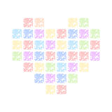 Colored hearts. Color heart of squares. vector format Royalty Free Stock Image