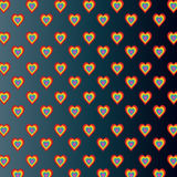 Colored hearts in dark gray gradient background Royalty Free Stock Images