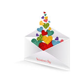 Colored hearts in the envelope Stock Images
