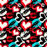 Colored hearts and lips on a black background seamless pattern Royalty Free Stock Image