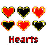Colored hearts made of pixels. On white background Stock Images