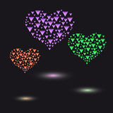 Colored hearts made of small triangular crystals royalty free illustration
