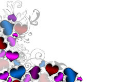 Colored hearts making the left border. On a white background with floral insertions vector illustration
