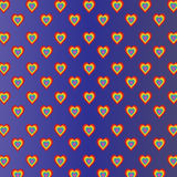 Colored hearts in violet blue gradient background Royalty Free Stock Image