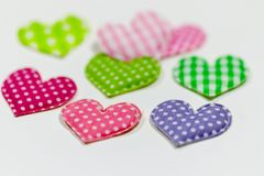 Colored hearts with white background Stock Photo