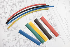 Colored heat shrink tubing Stock Photo