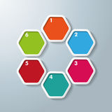 6 Colored Hexagon Infographic. Colored hexagons with shadows on the grey background. Eps 10 vector file Royalty Free Stock Photos