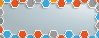 Colored Hexagon Structure Gray Centre Header. Hexagon structure with gray centre on the gray background Royalty Free Stock Photography