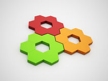 Colored hexagonal gears. Rendered on silver background Royalty Free Illustration