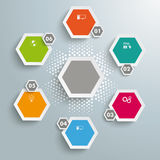 6 Colored Hexagons Halftone Cycle. Infographic with honeycomb structure on the grey background vector illustration