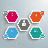 5 Colored Hexagons Hexagon Background. Infographic with honeycomb structure on the grey background Royalty Free Stock Photography