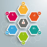 6 Colored Hexagons Hexagon Background. Infographic with honeycomb structure on the grey background Royalty Free Stock Image
