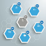 6 Colored Hexagons Hexagon Background PiAd. Infographic with honeycomb structure on the grey background. Eps 10  file Stock Images