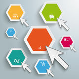 Colored Hexagons Mouse Clicks Infographic. White circles with mouse cursors on the grey background Stock Photography