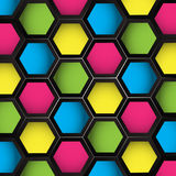 Colored Hexagons Seamless. Colored Seamless hexagon cube texture abstract backdrop Stock Images