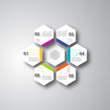 Colored hexagons with shadows on the grey background. Stock Photography