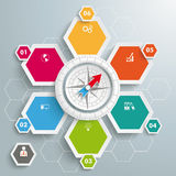 6 Colored Hexagons White Compass. Infographic with honeycomb structure on the grey background Stock Images
