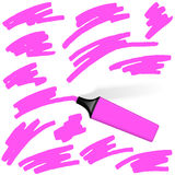 Colored Highlighter with different markings Royalty Free Stock Photo