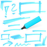 Colored highlighter with markings Stock Image