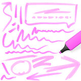 Colored highlighter with markings Royalty Free Stock Photos
