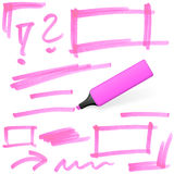 Colored highlighter with markings Royalty Free Stock Photo