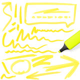Colored highlighter with markings Stock Images