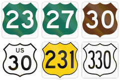 Colored Highway Route shield variants used in the US Stock Images