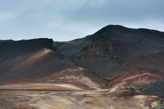 Colored hills at Hverarond area, Iceland Royalty Free Stock Images