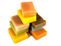 Colored homemade soap bars Stock Photography
