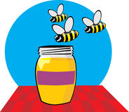 Colored honey jar Royalty Free Stock Photography