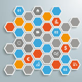 Colored Honeycomb Background Infographic PiAd. Infographic with honeycomb structure on the grey background. Eps 10  file Stock Photos