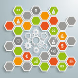 Colored Honeycomb Background Infographic White Gea Stock Photo