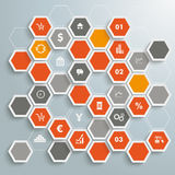 Colored Honeycomb Trader Background Infographic Pi. Infographic with honeycomb structure on the grey background. Eps 10  file Royalty Free Stock Photo